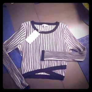 Stripped,  long sleves LUCY PARIS crop top size S